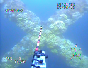 ROV inspecting an underwater structure with a Video recording